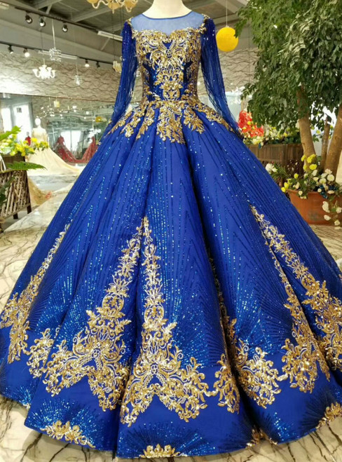 Royal Blue Ball Gown Sequins Gold Sequins Appliques Long Sleeve Luxury Wedding Dress