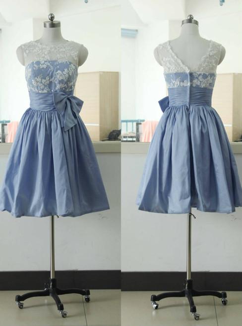 Sleeveless Lace Bridesmaid dress Short Taffeta Bridesmaid dress Knee Length