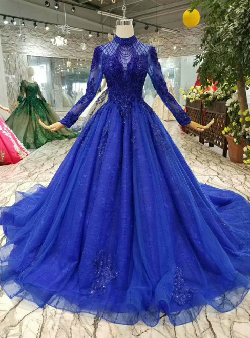 Royal Blue Tulle High Neck Backless Long Sleeve Luxury Wedding Dress With Pealrs