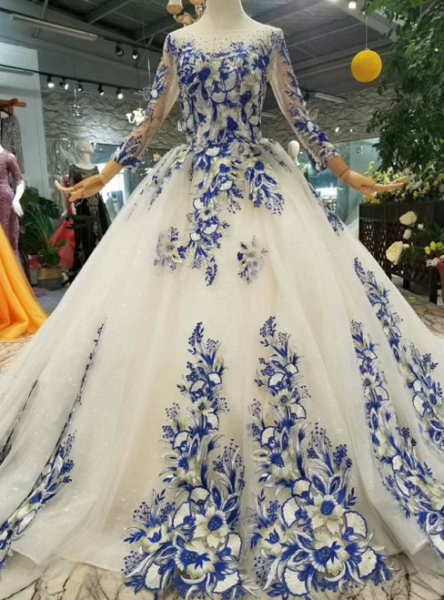Champagne Tulle Long Sleeve Blue Appliques Luxury Wedding Dress With Beading