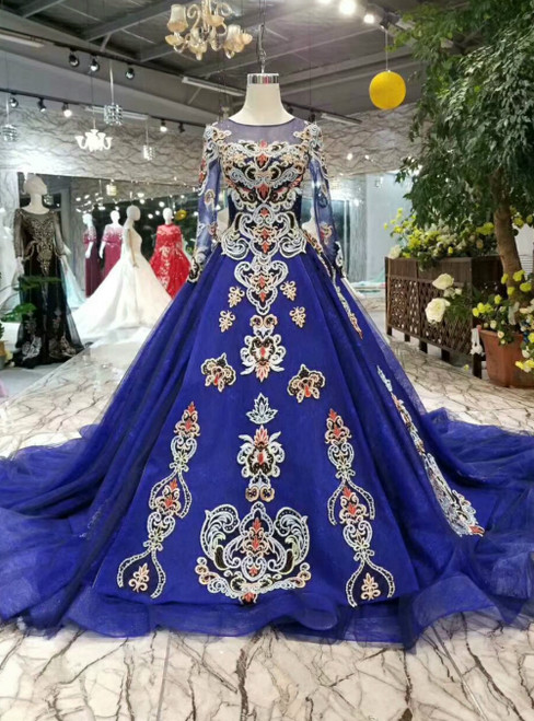 Royal Blue Tulle Embroidery Long Sleeve Luxury Wedding Dress With Removable Train