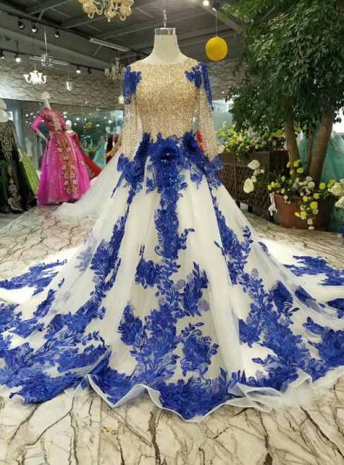 Ivory White Tulle Long Sleeve Blue Appliques Luxury Wedding Dress