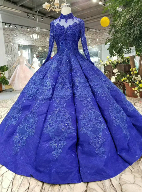Royal Blue Appliques High Neck Long Sleeve Luxury Wedding Dress