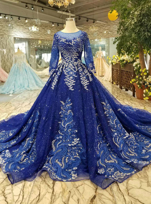 Royal Blue Tulle Sequins Long Sleeve Appliques Luxury Wedding Dress With Long Train
