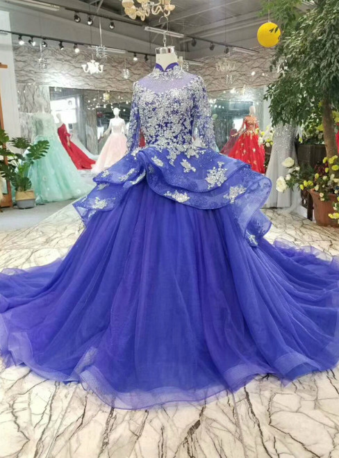 Ball Gown High Neck Long Sleeve Tulle Sequins Luxury Wedding Dress