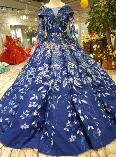 Royal Blue Long Sleeve Open Back Appliques Luxury Wedding Dress
