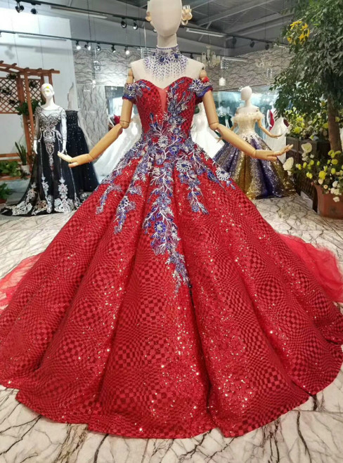 Red Ball Gown Sequins Off the Shoulder Appliques Luxury Wedding Dress