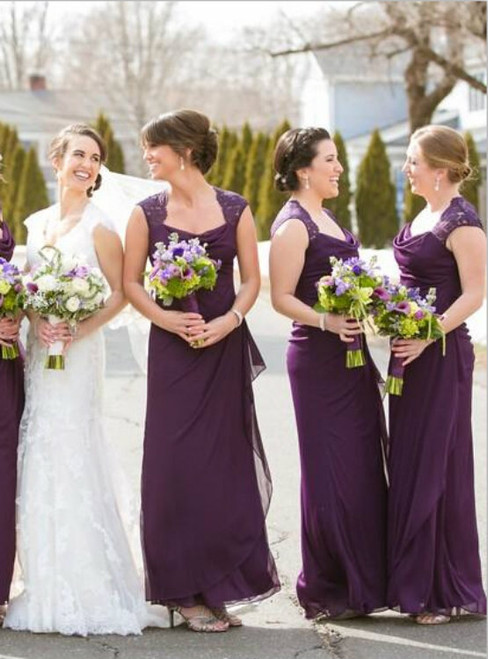 Purple Bridesmaid Dresses 2017 Off The Shoulder Scoop Ruffled Chiffon Lace