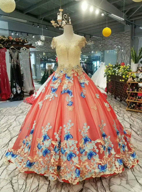 Pink Ball Gown Tulle Butterfly Appliques Luxury Wedding Dress With Beading