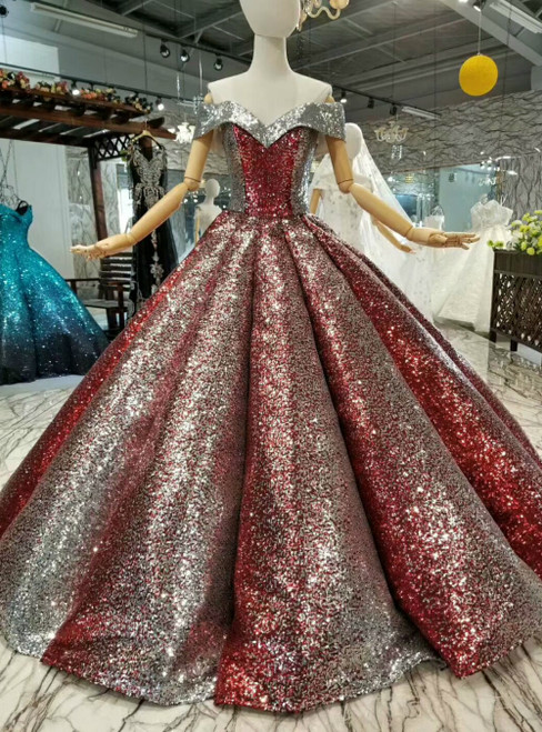 Red Silver Sequins Off the Shoulder Floor Length Luxury Formal Dress
