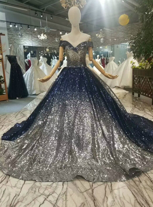 Blue Silver Sequins Off the Shoulder Luxury Wedding Dress With Train