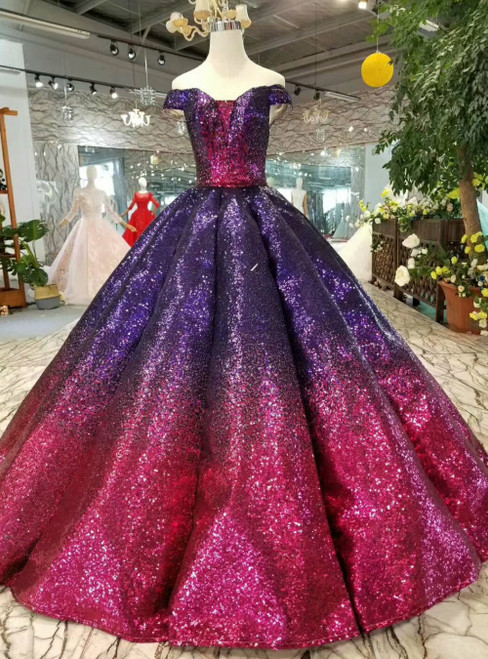 Purple and Fuchsia Ball Gown Sequin Off the Shoulder Luxury Party Formal Dress