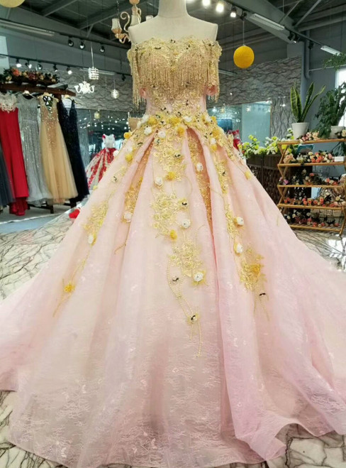 Pink Ball Gown Tulle Lace Off the Shoulder Appliques Luxury Wedding Dress With Beading