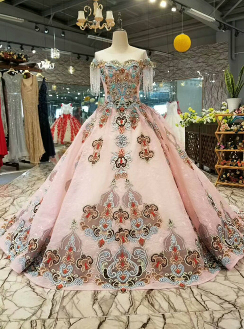 Pink Ball Gown Embroidery Cap Sleeve Backless Luxury Wedding Dress With Beading