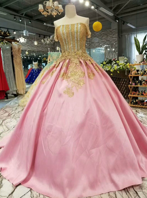 Pink Satin Off the Shoulder Appliques Luxury Wedding Dress With Beading