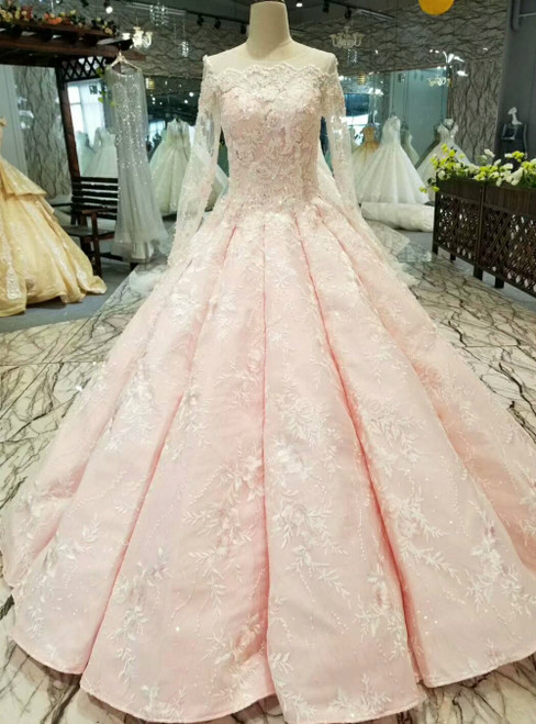Pink Ball Gown Appliques Long Sleeve Luxury Wedding Dress With Beading