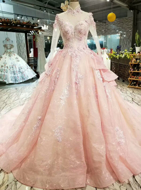 Pink Ball Gown Tulle Appliques High Neck Long Sleeve Luxury Wedding Dress