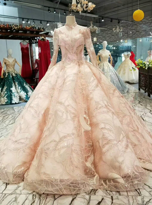Pink Ball Gown Sequins High Neck Long Sleeve Luxury Wedding Dress