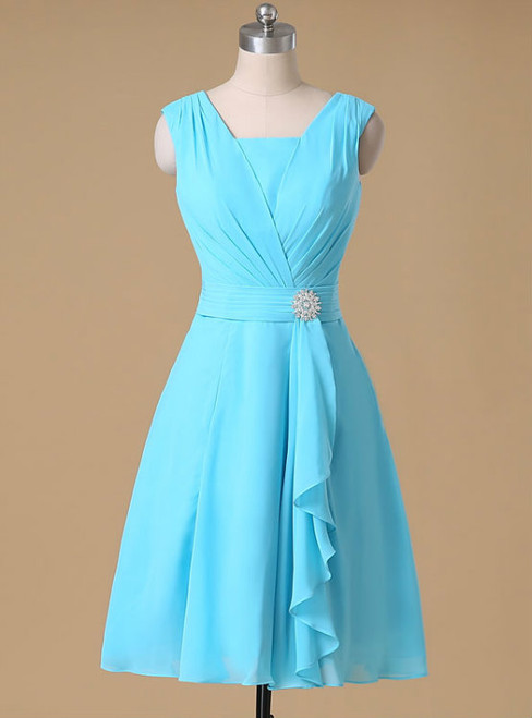 A-line V-neck Chiffon Bridesmaid Dresses Ruched Short Chiffon Dresses