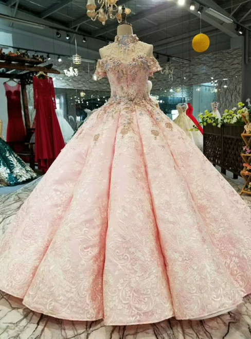 Pink Ball Gown Appliques Off the Shoulder Luxury Wedding Dress