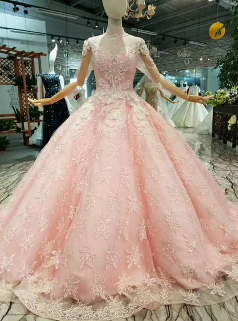 Pink Ball Gown Tulle Lace Appliques High Neck Long Sleeve Luxury Wedding Dress