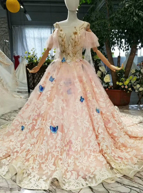 Pink Ball Gown Tulle Lace V-neck Backless Luxury Wedding Dress With Beading