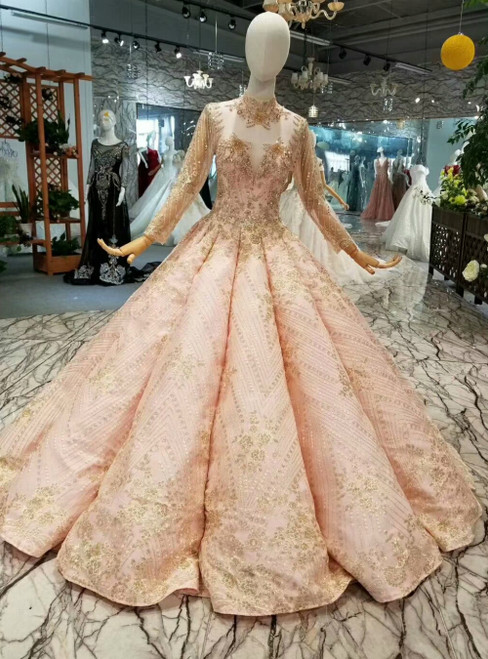 Pink Ball Gown Sequins Appliques High Neck Long Sleeve Luxury Wedding Dress