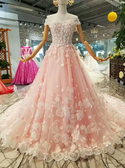 Pink Tulle 3D Flower Off the Shoulder Luxury Wedding Dress With Beading