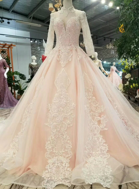 Light Pink Tulle Lace Appliques High Neck Long Sleeve Luxury Wedding Dress