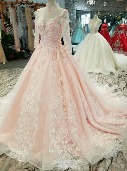 Pink Tulle Appliques Long Sleeve High Neck With Beading Wedding Princess Dress