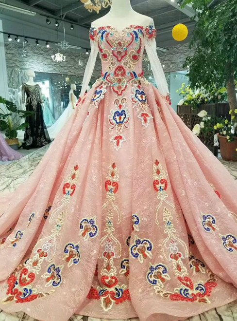 Pink Ball Gown Tulle Lace Long Sleeve Embroidery Luxury Wedding Dress With Train