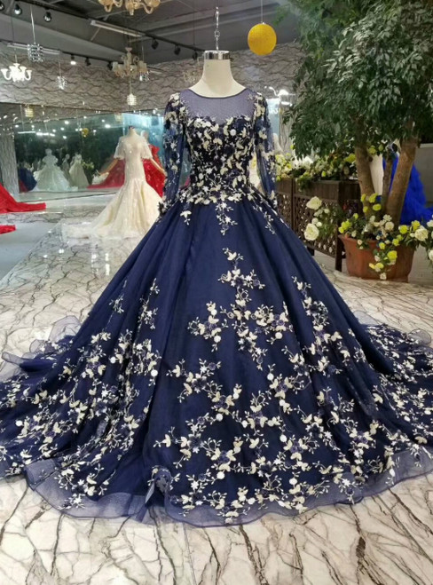 Navy Blue Ball Gown Tulle Long Sleeve Appliques Luxury Wedding Dress
