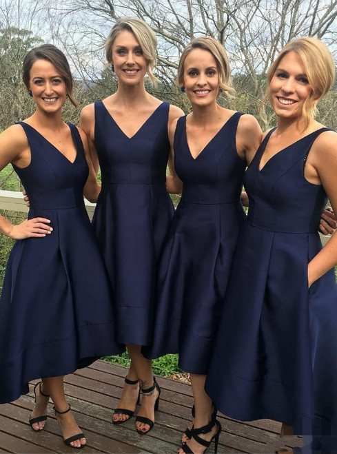 Classic A-line V-neck Navy Blue High Low Short Bridesmaid Dress