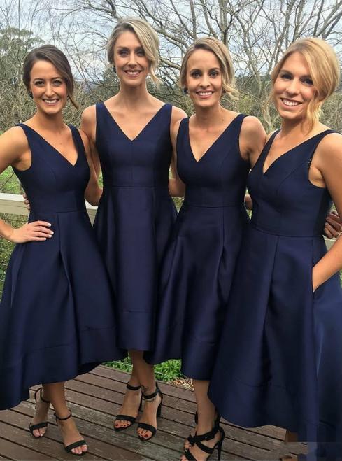 Classic A-line V-neck Navy Blue High Low Short Bridesmaid Dress