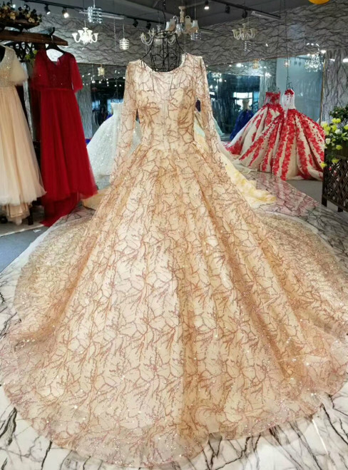 Champagne Gold Tulle Sequins Long Sleeve Luxury Wedding Dress With Long Sleeve