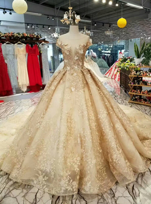 Champagne Gold Tulle Appliques See Through V-neck Cap Sleeve Luxury Wedding Dress