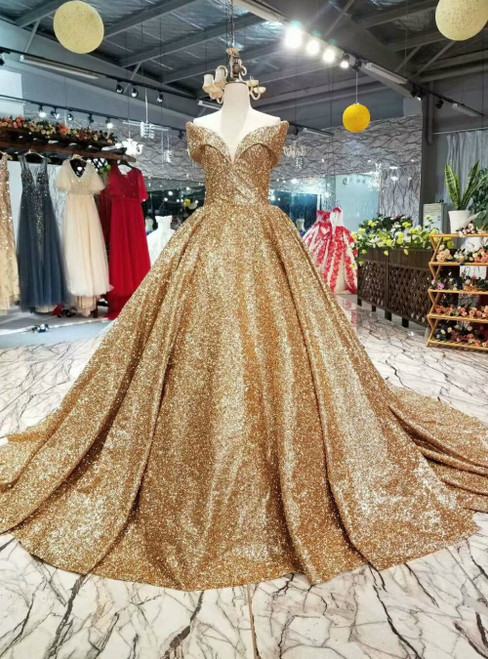 Gold Ball Gown Sequins Off the Shoulder Luxury Wedding Dress