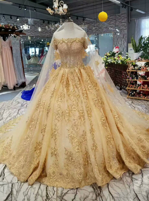 Gold Ball Gown Tulle Appliques Off the Shoulder Short Sleeve Luxury Wedding Dress