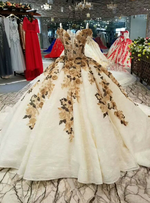 Champagne Ball Gown Lace Appliques Sequins Off the Shoulder Luxury Wedding Dress