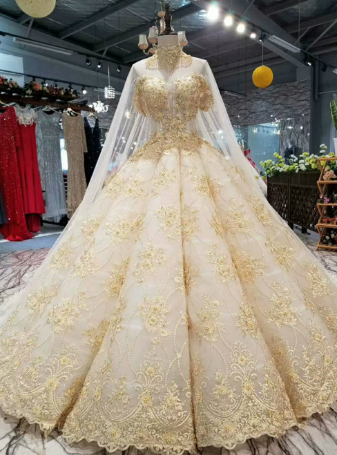 Champagne Appliques Corset Off the Shoulder Luxury Wedding Dress With Train