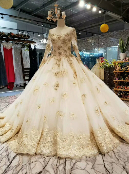 Champagne Tulle Long Sleeve Appliques Luxury Wedding Dress With Beading Sequins