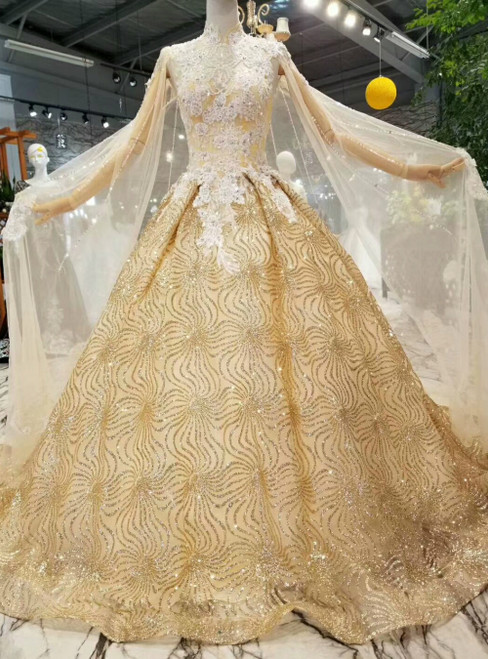 Champagne Tulle Gold Sequins High Neck Open Back Luxury Wedding Dress