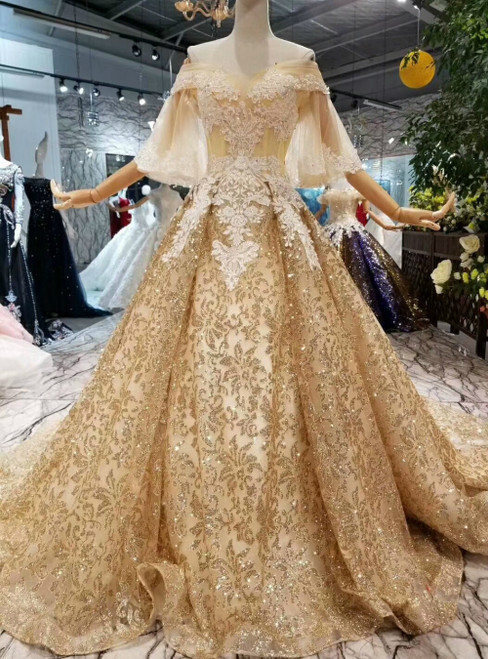 Champagne Gold Sequins Tulle Off the Shoulder Lace Appliques Luxury Wedding Dress