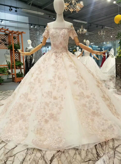 Champagne Ball Gown Tulle Pink Appliques Short Sleeve Off the Shoulder Luxury Wedding Dress