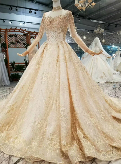 Champagne Tulle Appliques High Neck Long Sleeve Luxury Wedding Dress With Beading