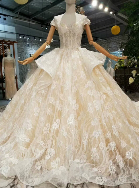 Champagne Tulle Sequins Appliques Cap Sleeve Backless Luxury Wedding Dress With Beading