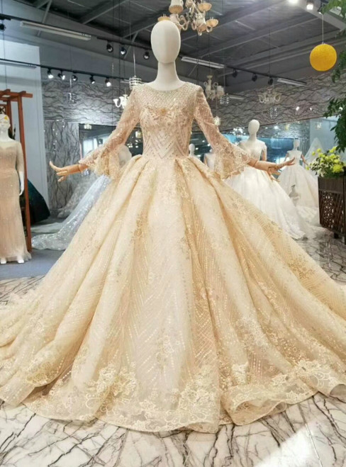Champagne Tulle Lace Appliques Long Sleeve Beading Luxury Wedding Dress