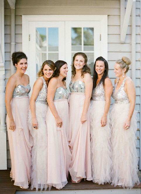 long bridesmaid dress  sparkle bridesmaid dress pink bridesmaid dress