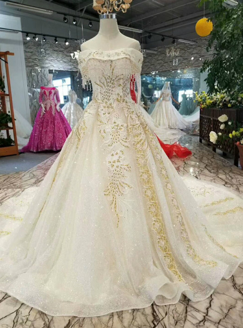 Light Champagne Tulle Sequins Strapless Luxury Wedding Dress With Beading