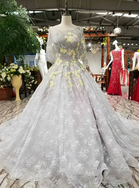 Silver Gray Tulle Appliques Puff Sleeve Luxury Wedding Dress With Train